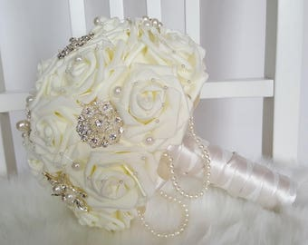 Small Foam Rose Bouquet/ Wedding Bouquet / Artificial Bouquet / Artificial Wedding Bouquet / Flowers for Weddings / Brides Bouquet/