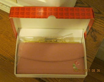 """Vintage 60's Pink Clutch Wallet/Organizer with Flowers """" New with Box """"FREE SHIPPING"""""""