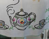 2 Vintage Aprons, Embroidered Full Aprons with Rick Rack for Project or Restoration, Embroidered Teapots, Flowers on Pretty Bib Aprons