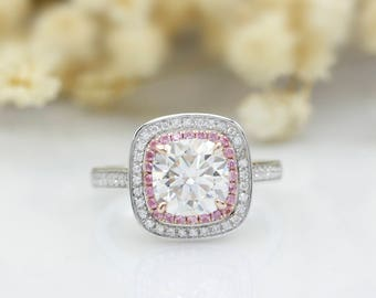 Cushion Cut 2ct Esdomera Moissanites Double Halo Pink Pave Set Accents 14k White Gold Engagement Ring (CFR0842-MS2CT)