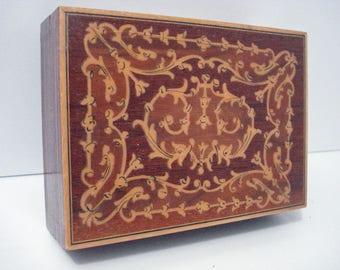 Wood Inlay Torna A Sorrento Music Box Vintage Carillon Svizzero