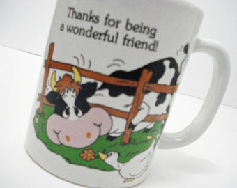 Crazy For Moo Cow Mug Vintage 1988 Thanks For Being A Wonderful Friend