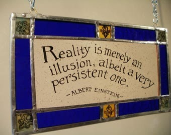 Einstein Quote in Stained Glass