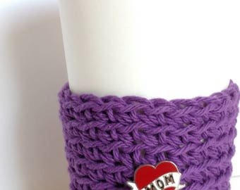 Cozy, purple Cup Sleeve, with Mom pin, Coffee Sleeve, Reusable Eco friendly cup cozy, gift for Mom, coworker gift, stocking stuffers
