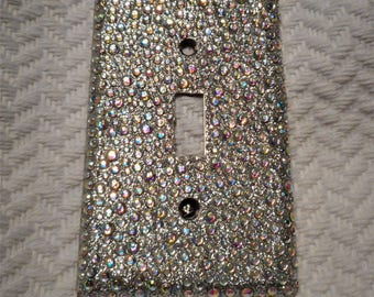 Bling Silver Glitter Single Toggle Light Switch Plate Cover with ALL AB IRIDESCENT Rhinestones Wallplate