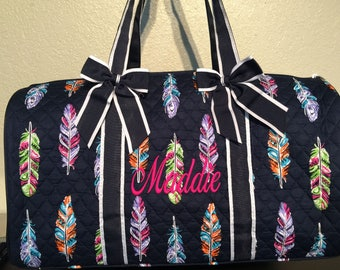 Feather Print Monogrammed Quilted Duffle Bag Navy Blue Trim