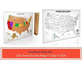2 Travel Tracker USA Maps - 1 Scratch off USA Map & 1 Color In USA Map - Both include National Parks - Perfect Gift for Travelers