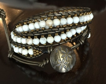 White Howlite and Bronze 3 Wrap Bracelet