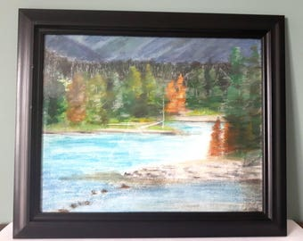 Landscape painting, Framed artwork, wall art, Algonquin park painting