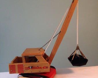 Demag vintage wooden toy crane/dragline excavator
