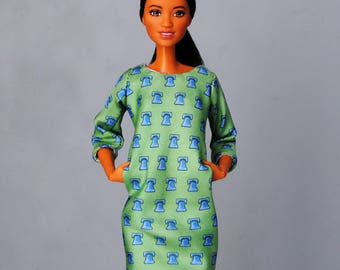 silk dress with pockets for Barbie & other 1:6 scale dolls