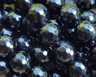 "Grade A Natural Black Obsidian Faceted 10mm Round Beads - 14.9""~15.1"" Strand"