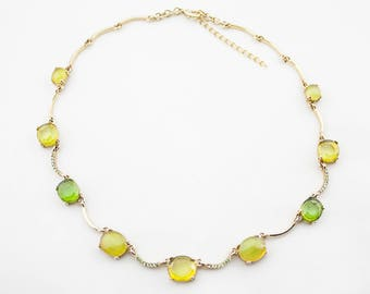 Vintage Gold Tone Light Green Yellow Lucite Rhinestones Choker Necklace
