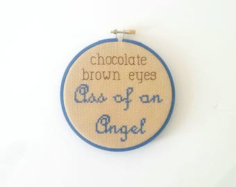 Chocolate brown eyes cross stitch