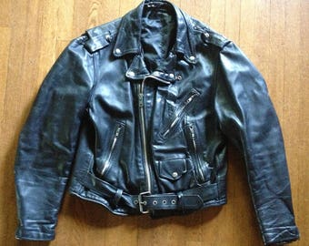 1980s Classic Black Leather Motorcycle Jacket