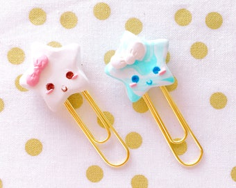Sweet and Happy Kawaii Star Burts -  Handmade Polymer Clay Charm /  Planner Clips / Planner Accessories