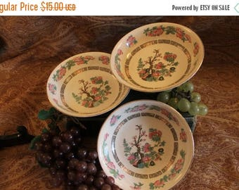 """Summer Sun Sale Set of 3 Crown Clarence Staffordshire Indian Tree Berry Bowls Dessert Dishes 5.5"""""""