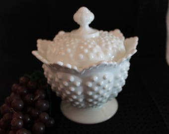"Fenton White Milk Glass Hobnail 7"" Covered Candy Jar - Footed, Scalloped Rim"