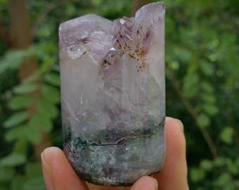 amethyst cylinder with cacoxenite, amethyst core
