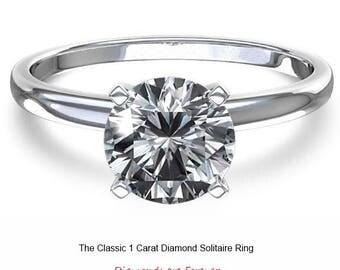 SALE!! 1.00 Carat Ideal Cut Round Brilliant Genuine Diamond Solitaire Engagement Ring