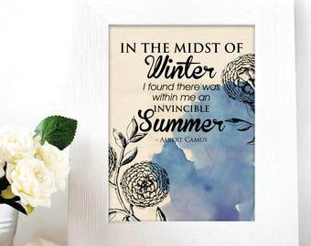 Albert Camus / Typography poster / Wall art / Modern design / Home decor / Digital Print