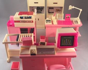 1980s Barbie Arco Fashion Doll Office Play Set