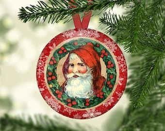 Vintage Santa Christmas Tree Hangers, Santa Claus, Wreath Hangers (0080)