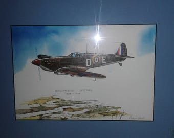SuperMarine Spitfire Airplane Print/Signed George Sperl/Numbered