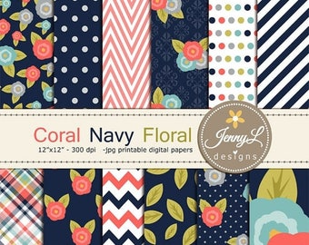 50% OFF Coral Navy Floral digital paper,  Coral Flowers for Digital scrapbooking, invitations, birthday, wedding, Planners