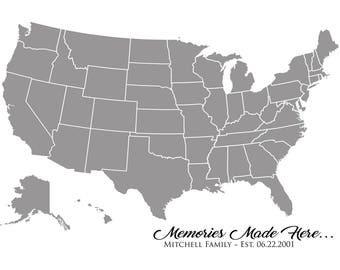 Memory Map - United States; Visual display of all the places your family has made memories.