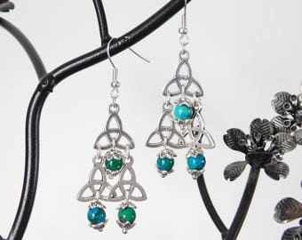 Chrysocolla Triquetra Wicca Earrings