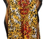 Plus Size Floral SummerFestival Animal Print Drawstring Batwing Sleeve Kaftan Red