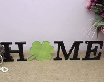 HOME Wooden Letters, Interchangeable Letters Sign, St.Patrick's Day, Home Decor, Irish Decor, Clover Decor, Wood Letters, Housewarming Gift