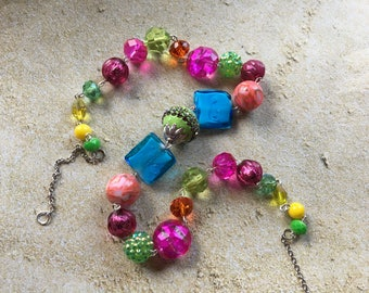 Fuschia, Blue, Yellow and Lime Green Beaded Necklace, Beadwork Necklace, Beaded Necklace, Glass Necklace, Gift For Her, Statement Necklace