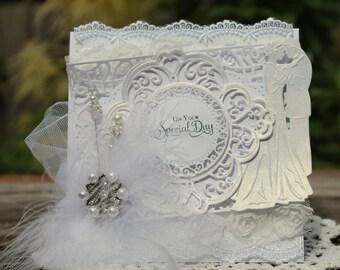 Elegant Wedding Card, OOAK Handmade Wedding Card, High End Wedding Card