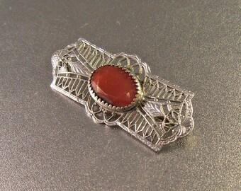 Art Deco Filigree Carnelian Brooch, Rhodium Bar Pin