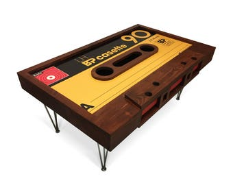 Handmade Cassette Tape Table with Storage. Customisation available