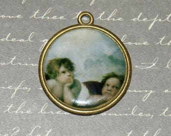 Large Medallion pendant round Dream Angels in resin and bronze metal