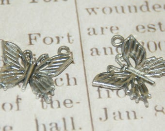 3 19.5 mm silver metal Butterfly charms
