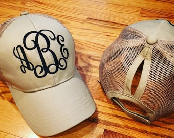 High ponytail trucker hat! Top knot kooks cute too! Lots of colors and embroidered monogram! Adorable!