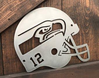 Football Signs, Seahawks Sign, Sport team signs, NFL Football signs, Metal football signs, Football Helmet Decor, Man cave decor, Sports