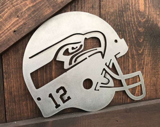 Football Signs, Seahawks Sign, Sport team signs, NFL Football signs, Metal football signs, Football Helmet Decor, Man cave decor, Sports