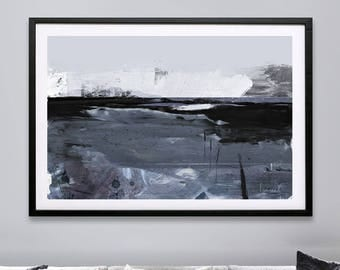 Abstract Landscape Painting, DIGITAL DOWNLOAD, 'Night Desert', Landscape Print, Original Painting By Artist Dan Hobday, Grey and white tones