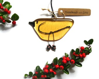 Fused glass hanging bird in Amber glass. Christmas tree decoration,  stocking filler glass gift, unique friend gift,BD128 suncatcher