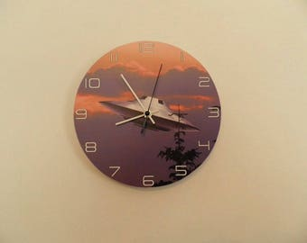 Ufo wall clock,  kids room  coloured,  Housewares, nurcery wall clock, gift for boys or girls,  animal wall clock