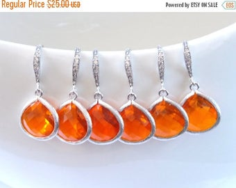 SALE Wedding Jewelry, Bridal, Silver Orange Earrings, Tangerine, Carnelian, Cubic Zirconia, Bridesmaid Jewelry, Bridesmaid Earrings, Dangle,