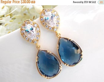 SALE Wedding Jewelry, Cubic Zirconia and Navy Blue Earrings, Bridal Jewelry, Dark Blue and Cz, Gold Earrings, Mother's Gift, Post, Dangle, B