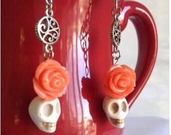 Dia de los Muertos Earrings (Peach) Style 1