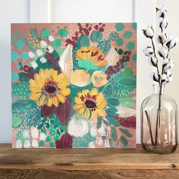 "Abstract Floral Giclee Print- ""Sunflowers and lilies"""