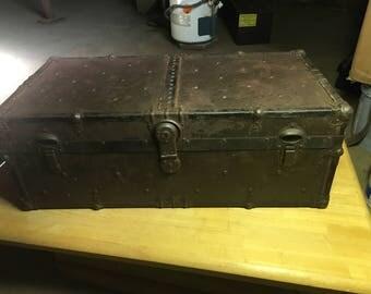 Antique / Vintage , Metal Trunk , Storage Locker , Great Patina , Rustic Decor , Repurpose as Coffee Table ?